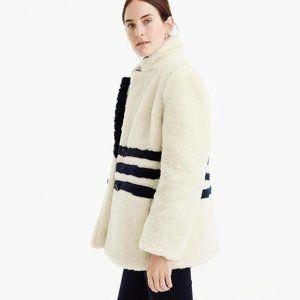 J. Crew Yuna Faux Fur Striped Teddy Coat Jacket L